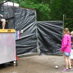 New this year at Keller's Day Camp was a dunk tank. Campers took their opportunity to dunk a camp staff member.