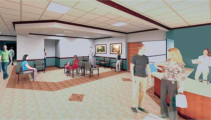 A drawing depicts the proposed ER reception area and waiting room at ThedaCare Medical Center-New London.