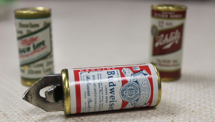 Some of the bottle openers in Dan Mayville's collection look like tiny cans of beer. Angie Landsverk Photos