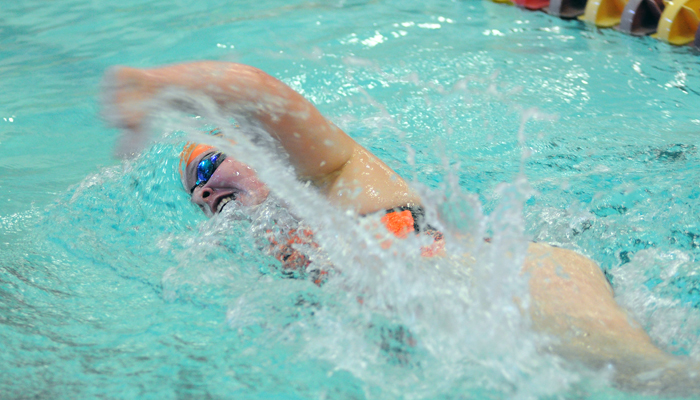 Clintonville senior Emily Graper competes in the 500-yard freestyle race at the sectional meet in Stevens Point on Saturday, Nov. 7.  Scott Bellile photo