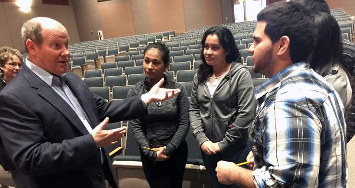 Rep. Reid Ribble speaks with Ana Rosas, Maria Hernandez and Jesus Vargas after his presentation to 150 New London High School students on March 31. Photo courtesy of Brian Mathu