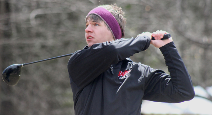 Weyauwega-Fremont's Noah Buhrow keeps an eye on his tee shot on the fourth hole of Cedar Springs Golf Course April 11 during the Manawa Invitational. The Indians turned in a score of 308.  Greg Seubert Photo