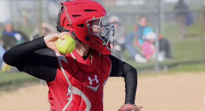 Maddie Ruckdashel and the New London softball team will open WIAA tournament play at 4:30 p.m. Wednesday, May 25, at home against Xavier or Wautoma. The Bulldogs and Luxemburg-Casco are No. 1 seeds in the Division 2 Little Chute Sectional.  Greg Seubert Photo