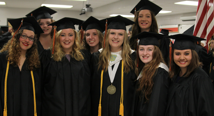 Some of the girls from the Iola-Scandinavia Class of 2016 included (from left) Devon Bonikowske, Lyric Shanks, Danielle Elmhorst, Emily Bauer, Ashley Fenn, McKenna Prahl, Hana Buttles and Izzy Carper.  Holly Neumann Photo