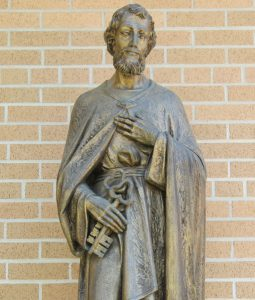 Outside of Ss. Peter and Paul Catholic Church, in Weyauwega, is a statue of St. Peter. Angie Landsverk Photo