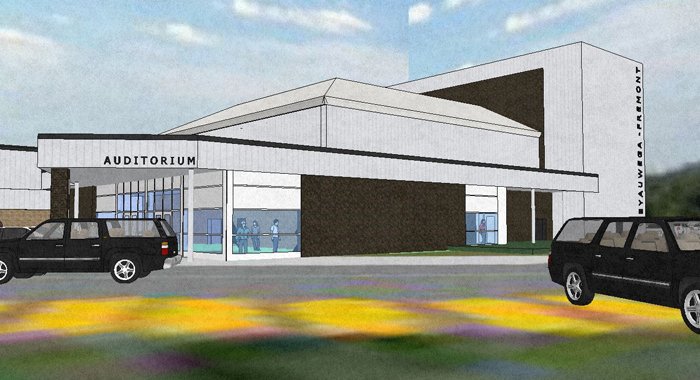 A 400-seat auditorium addition is part of the project being considered for Weyauwega-Fremont High School.  Rendering courtesy of ATS&R, of Minneapolis