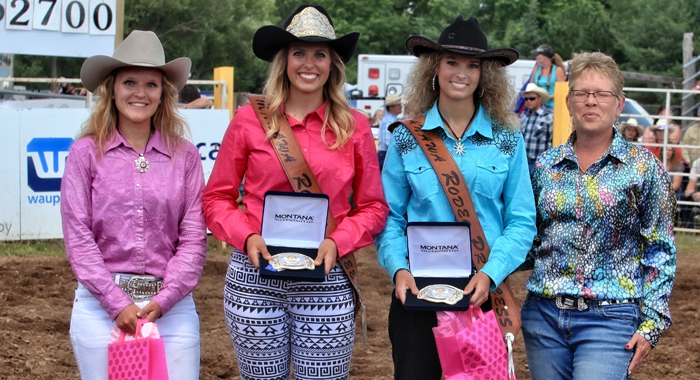 The 2017 Mid-Western Rodeo royalty includes (from left) first runner-up Jenna Madsen, Tigerton; 2017 Manawa Rodeo Queen Stefanie Voight, Brillion; 2017 Manawa Rodeo Princess Amanda Doman, Bear Creek; with Rodeo Queen Coordinator Annette Ziebell. Photo by Marty Welter/rodeoflicks.com