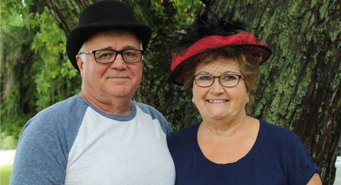 Joe and Marlene Phillips are pictured in the hats they will wear as this year's Horse & Buggy Days king and queen. Angie Landsverk Photo