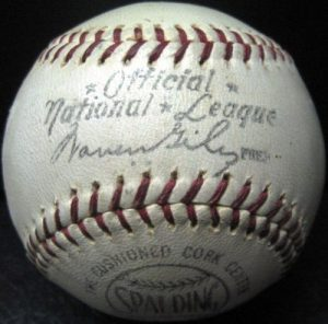 1950s Spalding Official National League baseball. Photo courtesy of  Front Runner Sports Memorabilia.com