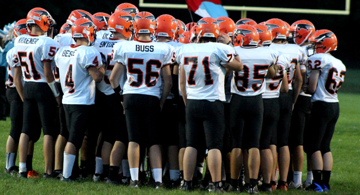 Iola-Scandinavia football players huddle before taking on Southern Door. Greg Seubert Photo