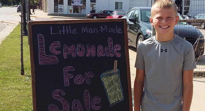 Parker Wilson sold lemonade on the day before the start of the new school year to raise money for the Humane Society of Waupaca County. Submitted Photo