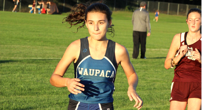 Karina Lisogor turned in the fastest time for Waupaca during the girls' race at the Waupaca Invitational. She crossed the finish line in 24:23 to place 39th overall. The Waupaca girls finished 12th, while the boys placed ninth.  Greg Seubert Photo