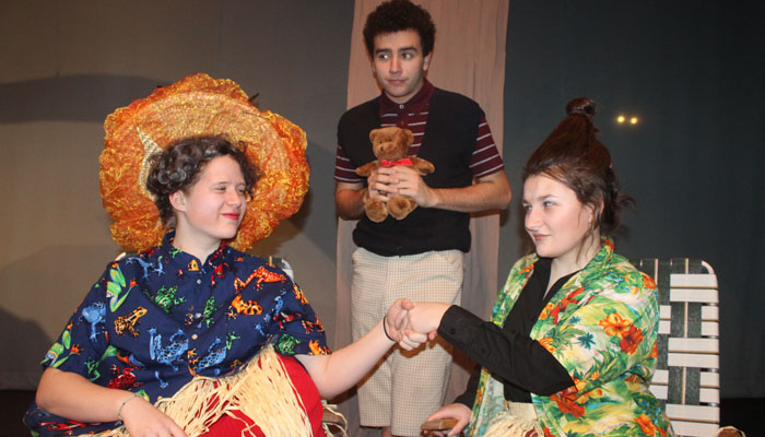 "Abby Perket, Simon Baumgart and Elle Miller are among the cast members of Waupaca High School's upcoming production of ""James and the Giant Peach.""