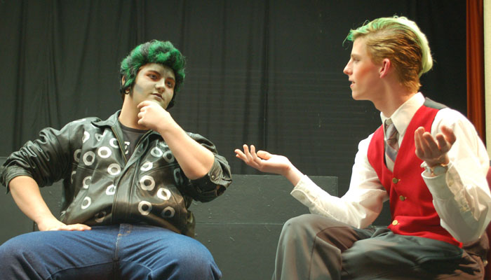 "Alex Lederer portrays the Zombie, and Joshua Barnett portrays  a reporter named Eddie Flagrante in ""Zombie Prom."" Submitted Photo"