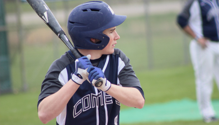 Max Menzies steps up to the plate for Waupaca during the Comets' home doubleheader with Oconto Falls. Greg Seubert Photo