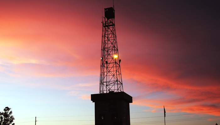 Sunset behind the tower during the Iola Car Show, July 6-8. Holly Neumann Photo