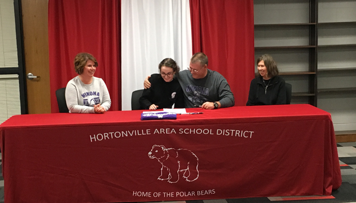 Hortonville golfer Bree Downie signs to play college golf at Winona State.