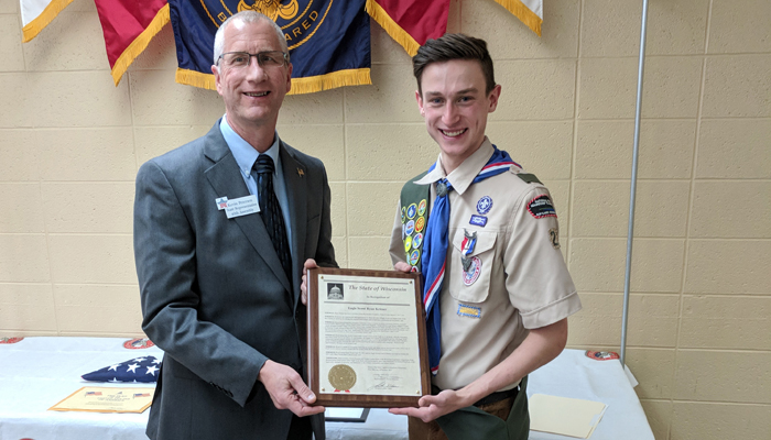 Rep. Kevin Petersen recognizes Eagle Scout Ryan Krieser with a citation. Photo courtesy of Kelly Krieser