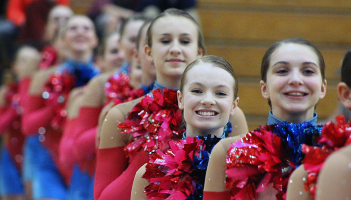 Members of the Waupaca High School dance team line up before performing a routine at a girls' basketball game at the school.Greg Seubert Photo