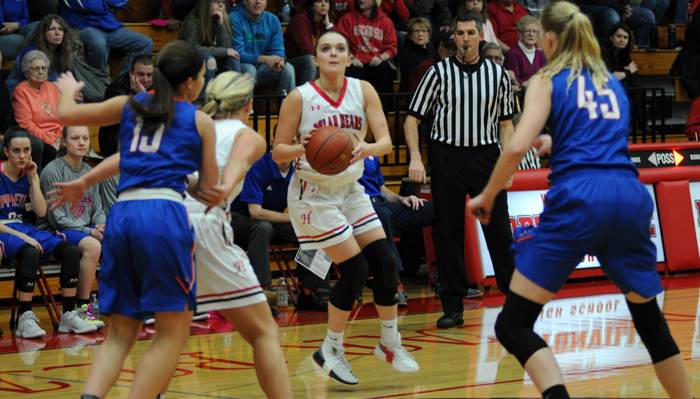 Hailey Wenzel eyes up a 3-pointer in the first half. She finished with eight points in the game. Erik Buchinger photo