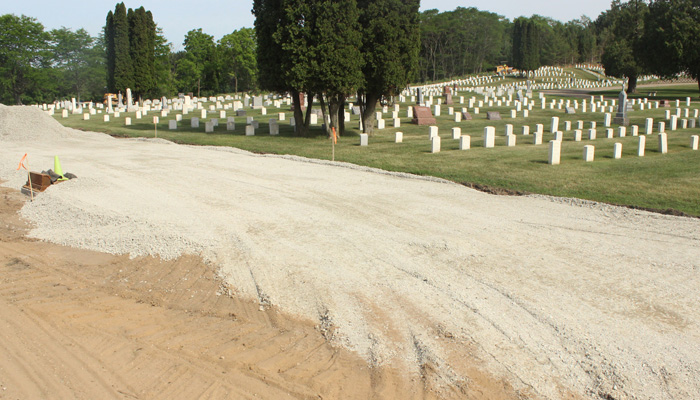 Improvements are being made to half the roads at the cemetery this year. The rest of the road work will be completed next year. Greg Seubert Photo