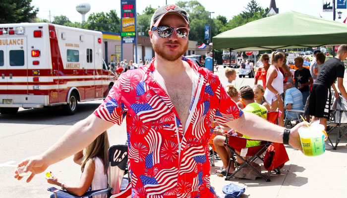 Cody Potter was ready to celebrate the Fourth of July in Manawa in his stars and stripes outfit.