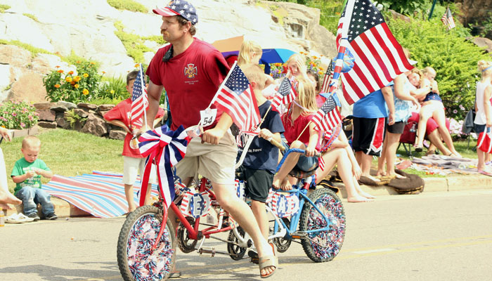 This three-seat bicycle was part of Waupaca's Fourth of July parade.